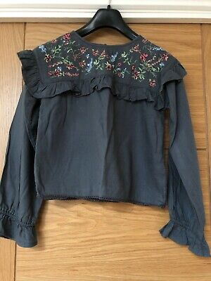 Girls NEXT broderie anglaise blouse blue Age 11yrs cotton long sleeve