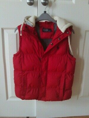 Girls Gilet Age 13 Yrs In Red Padded With Detachable Hood Exc Condition