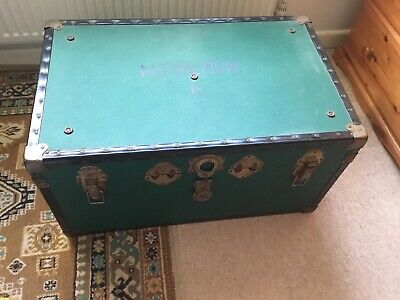Vintage Green Steamer Trunk With Metal Corners, Leather Straps, Lock and Key