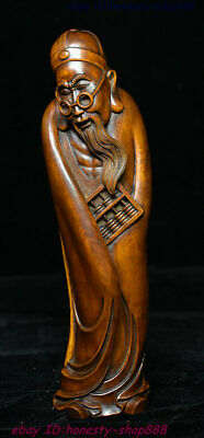 Old Chinese Boxwood Wood Carving Old shopkeeper Rich man Master Shopowner Statue