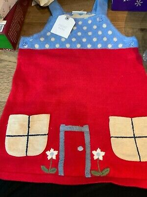 Baby Girls NEXT Soft Red/Blue 100% Cotton Knitted Pinafore Dress Outfit new tags
