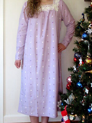 Charter Club Fleece Nightgown LARGE / XL Long Sleeve Gown Lavender/ Lilac NWT