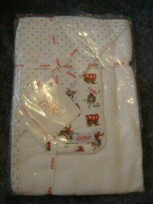 BNWT!! Cath Kidston Baby Hooded Towel and flannel set mini spot/cowboy