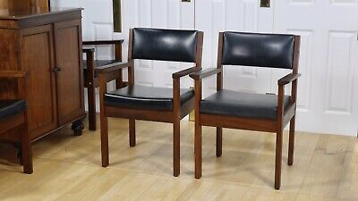 Pair Danish Mid Century Solid Teak And Black Vinyl Upholstered Armchairs