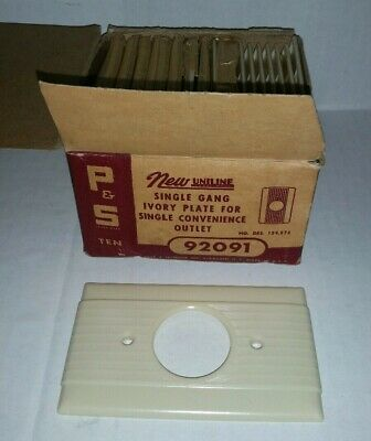 19 Vintage P&S Uniline Single Gang OUTLET PLATE COVERS Ribbed IVORY #92091