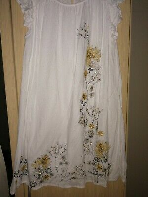 Girls Next White Embroidered Dress Age  11 Years