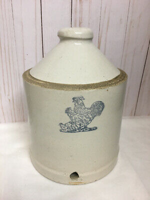 Vintage Rooster Chicken Stencil Red Wing? Chicken Feeder Water Stoneware Crock