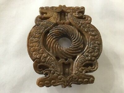 Chinese Hand-carved Double Dragon Carving Hetian jade Pendant Amulet