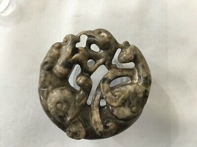 Chinese Hand-carved Dragon Dog Phoenix Carving Hetian jade Pendant Amulet