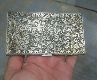 Antique Italian Cigarette Case 800 Silver Vintage Heavily Engraved Chased