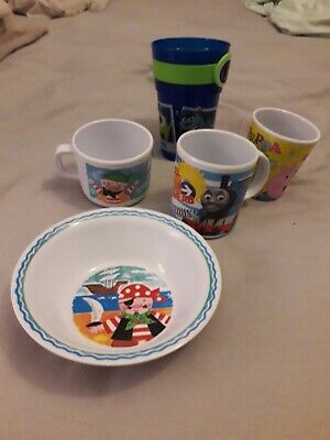 Toddlers Cups And Bowl Bundle Thomas Tank, Peppa Pig, Pirates and Monsters inc
