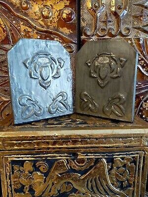 "Antique art Nouveau metal bookends arts & crafts pewter 5"" X 6"""