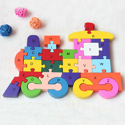 Wooden Alphabet/numbers Jigsaw Train Puzzle kids Toys Children Educational