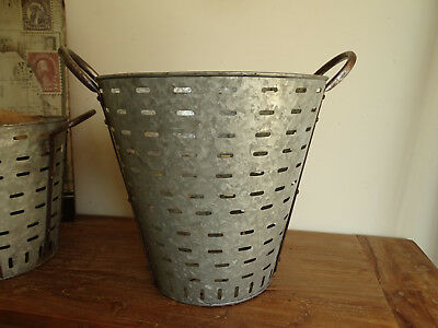 S3929 Olivenkorb~Iron Olives~Oliveneimer Zinc Plated ~ Olive Bucket