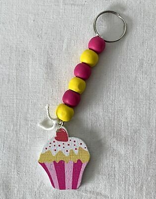 Wooden Cupcake Themed Colourful Keyring