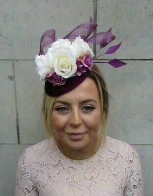 Plum Cream Grape Purple Rose Flower Feather Pillbox Hat Fascinator Mauve 7912