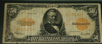 1922 $50 Gold Certificate, Large Note  Plate D27/3,  Fr 1200 Rare, Hard To Find