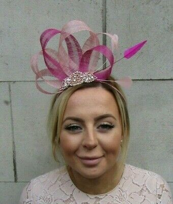 Rose Gold Dusky Blush Pink Fuchsia Hot Pink Fascinator Feather Sinamay Hair 7913