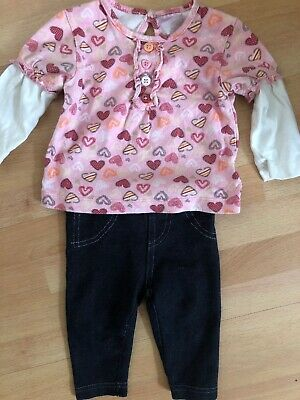 Baby Girls Long Sleeve Top And Leggings Age 6-9M
