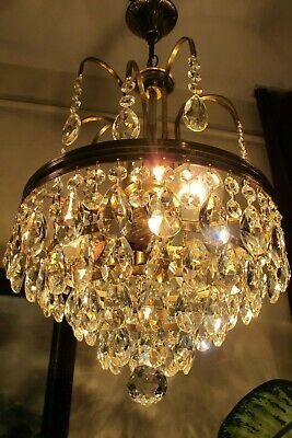 Antique VNT.  FRENCH Basket style Crystal Chandelier Light Lamp 1960's 10.in.