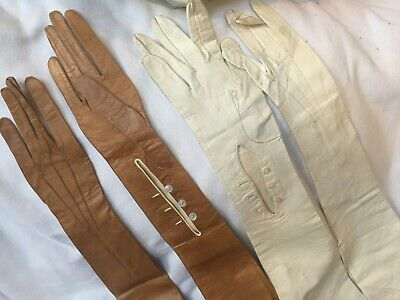 2 Pairs Of Edwardian Kid Evening Gloves Size 6.75