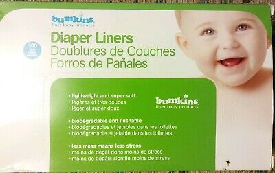 100 Pack Bumkins Flushable Biodegradable Baby Cloth Diaper Liner Tissues