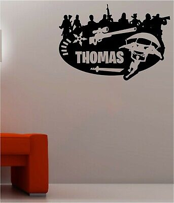 Personalised Name PS4 Xbox Wall Stickers Silhouette Fort Decals Nite CharacterF0
