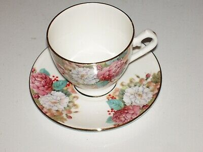 Lovely Queensway Staffordshire  Fine Bone China Floral Tea Cup & Saucer