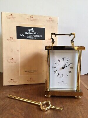 Vintage Matthew Norman 8 Day Brass Striking Carriage Clock