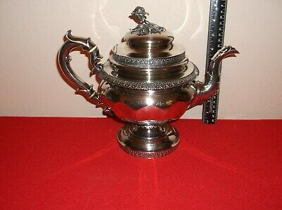 Antique(original) George A. Hoyt c1822-1840 Coin Silver Teapot, Albany NY 933gms