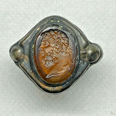 Roman Ancient Silver Plated With Agate Stone Emperor Pertinax Ring- Ar00037