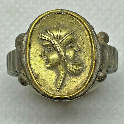 Roman Ancient Silver With Gold  Emperor Unique Ring- Ar00091