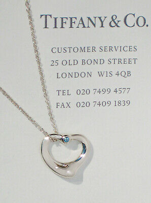 Tiffany & Co Elsa Peretti Sterling Silver Aquamarine Open Heart Necklace