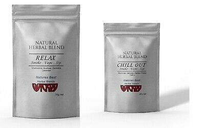 RELAX & CHILL OUT ~ HERBAL BLEND Organic Herbal High Tea - 2 Packs 40 Grams