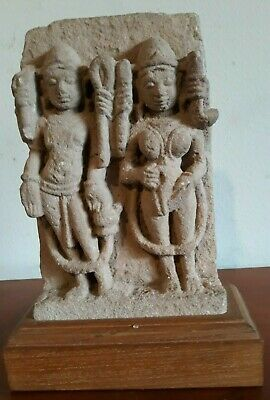 """Authentic 5th-8th Cent Hindu Sandstone Temple Fragment Multi-armed Deities 7.5"""""""