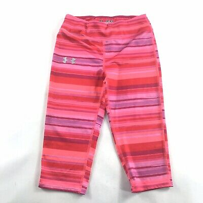 Under Armour Girls All Season Capri Legging Pink Stripes Youth Medium M YMD