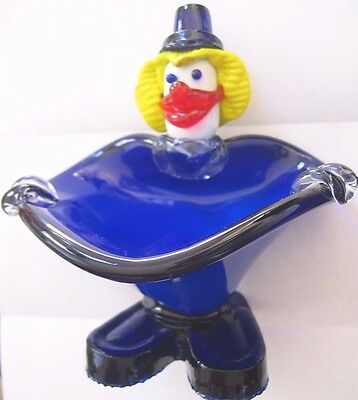 CLOWN FIGURINE with BOWL~candy dish~MURANO~VINTAGE~HAND BLOWN~ ITALIAN ART GLASS