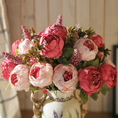 Artificial Flowers Plants 13 Heads Silk Peony Wedding Bouquet Home Party Decor