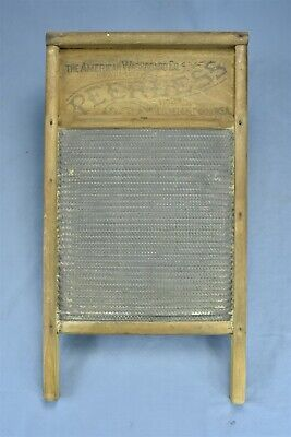 Antique 1876 AMERICAN PEERLESS WASHBOARD PRIMITIVE LAUNDRY WASHTUB RARE #08337