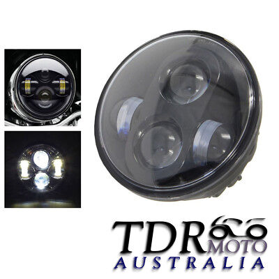 Black 5.75 inch 5-3//4 Round LED Headlight Replacement Daymaker Projector High Low Beam with DRL Halo Angel Eyes Working Lamp for Harley Davidson Motorcycle