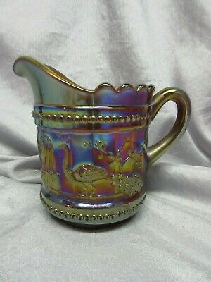 Northwood Carnival Glass Creamer - Peacocks At The Fountain - Amethyst - Mint