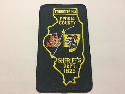 PEORIA COUNTY ILLINOIS IL State Outline Indian SHERIFF POLICE PATCH