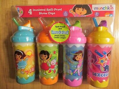 4 Munchkin Dora The Explorer Insulated Spill Proof Straw Cups New