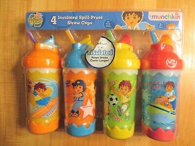 4 Munchkin Go Diego Go Insulated Spill Proof Straw Cups New