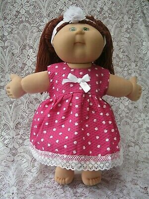 "Dolls Dress Bloomers & Headband To Fit 16"" Cabbage Patch & Similar Size Dolls"