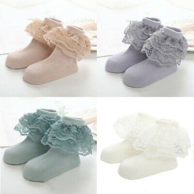 Kids Girl Lace Cotton Socks Ruffle Frilly Ankle Short Socks Baby Princess Infant