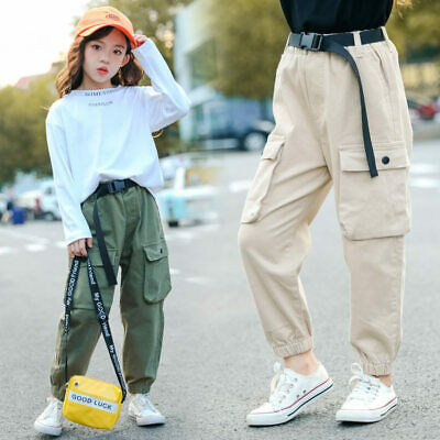 Kids Girls Cargo Pants Solid Cool Trousers Pocket Loose Sport Pants High Waist