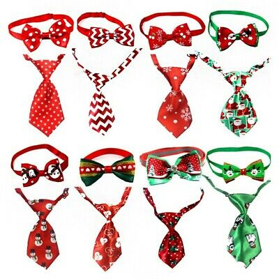 Adjustable Pet Dog Necktie Bowknot Collar Set Christmas Xmas Puppy Party Costume