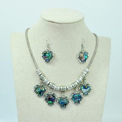 6 Sets Wholesale Abalone shell Jewelry Sets Antique Silver Pendant Necklace YFP