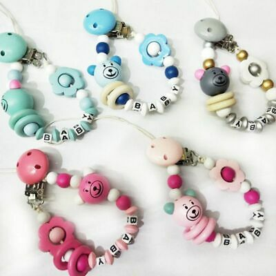 Baby Toddler Letter Spring Dummy Pacifier Soother Nipple Clip Chain Strap yjs